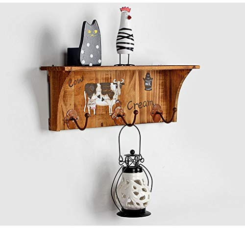 Funnmart Solid Wood Wall Storage Rack Shelf Sheep Letter Decoration Wooden Hanging Hooks Creative Home Kitchen Bathroom Hooks Rack ()