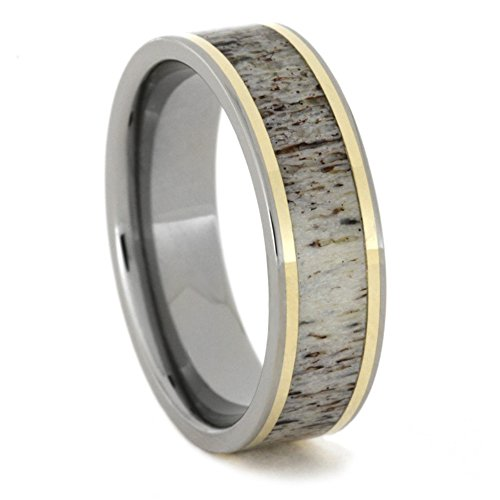 Antler Inlay, 14k Yellow Gold Pinstripe 7mm Comfort-Fit Titanium Ring, Size 4.75 by The Men's Jewelry Store (Unisex Jewelry)