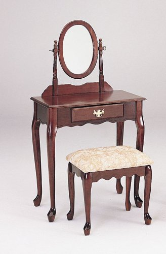 Amazon.com: Queen Anne Style Cherry Finish Wood Vanity Set W ...