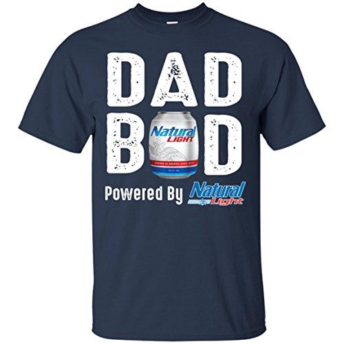 Mummy Tee Dad BOD Powered by Natural Light T-Shirt (Navy;XL)