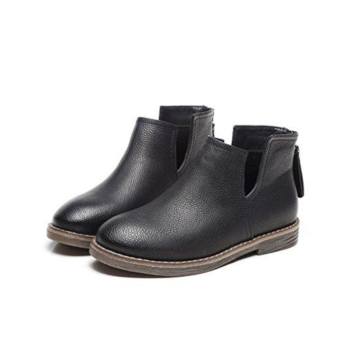 Femmes Chelsea Microfibre Bout Classique Rond Automne Plat Bottines Zip Bottes Demi Rétro 38 Noir Inconnu Chaussures Hiver dEfqxTwd