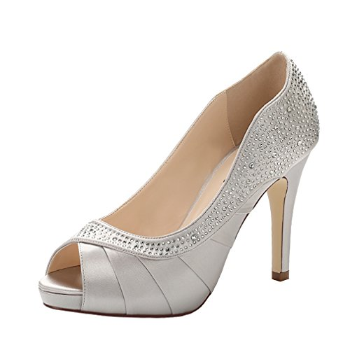 ERIJUNOR E1613 Women Peep Toe High Heels Comfortable Fashion Rhinestones Satin Evening Prom Wedding Sandal Shoes Silver Size 6 ()
