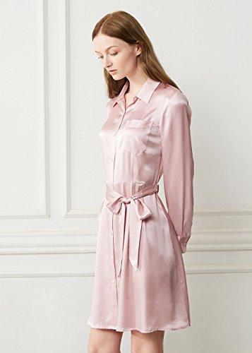 LilySilk 22 Damen Rosa Kleider Hell mit Damenmode Seidenkleider Seide Momme Hemdkragen Langarm Gürtel zUwfzr