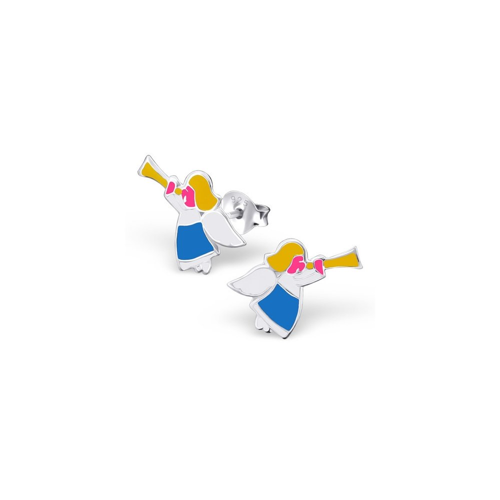 925 Sterling Silver Angel Colorful Ear Studs Girls