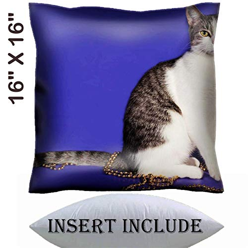 16x16 Throw Pillow Cover with Insert - Satin Polyester Pillow Case Decorative Euro Sham Cushion for Couch Bedroom Handmade IMAGE ID: 35007824 Striped and white cat wrapped with silver beads Christ