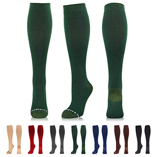 NEWZILL Compression Dress Sock (15-20 mmHg) for Men & Women - Cotton Rich Comfortable Socks - Best Stockings for Business Casual, Running, Medical, Athletic, Edema, Diabetic (Dark Green, L/XL)