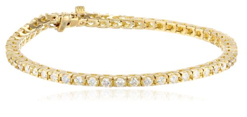 IGI Certified 18k Yellow Gold 4-Prong Diamond Tennis Bracelet (3.0 cttw, H-I Color, SI1-SI2 Clarity), 7'' by Amazon Collection