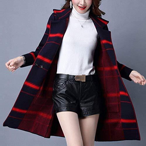 Giubotto Abbigliamento Pattern Donna Outwear Casual Modern Pulsante Anteriori Lunga Moda Tasche Autunno Stile Stampate Maglioni Di Manica Giacca Invernali Dunkelblau Maglia A zqYCz