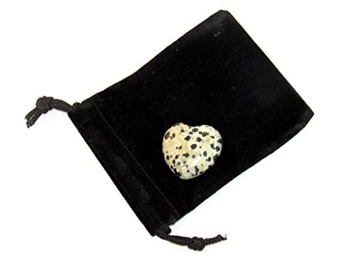 Zentron Crystal Collection: Dalmation Jasper 30MM All Natural Polished Pocket Gemstone Crystal Puff Heart and Velvet Pouch