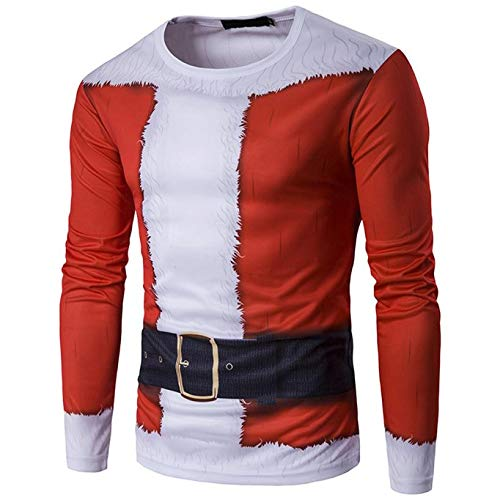 PASATO Classic Men Autumn Winter Xmas Christmas Printing Top Men's Long-Sleeved T-Shirt Blouse Clearance Sale(Red, L=US:M) by PASATO