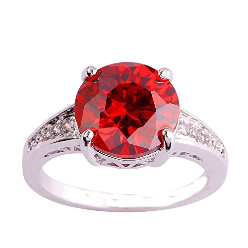 Empsoul 925 Sterling Silver Natural Novelty Filled 3.5ct Garnet January Birthstone Promise Wedding Ring