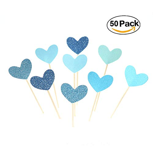 Glitter Heart Blue (Dunhil 50pcs Blue Funny Heart Glitter Cupcake Toppers Mini Cake Toppers Toppers Party Decorative Accessories for Birthday Wedding Baby Shower etc (Blue))