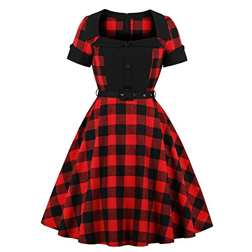 Women Red and Black Plaid Dres Petter Pan Dress Square Neck Plus Size Flare Dress with Waist Band by Lowprofile -
