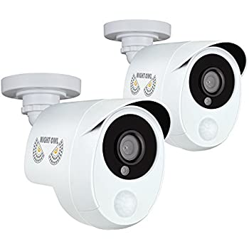 Night Owl Security 2 Pack Add–On 1080p Wired HD Analog Security Cameras with Heat Based Motion Detection