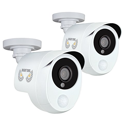 Night Owl Security 2 Pack Add-On 1080p Wired HD Analog Security Cameras with Heat Based Motion Detection