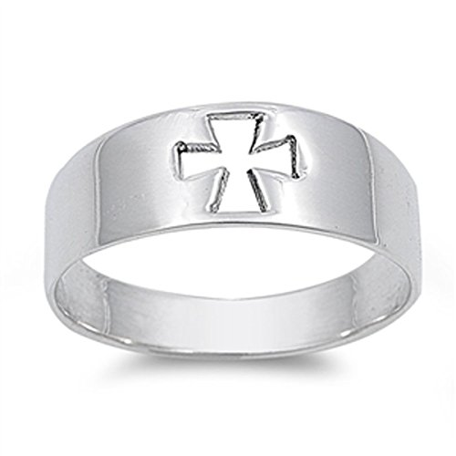 Sterling Silver Women's Cutout Cross Ring (Sizes 4-13) (Ring Size (Large Cut Out Cross Ring)