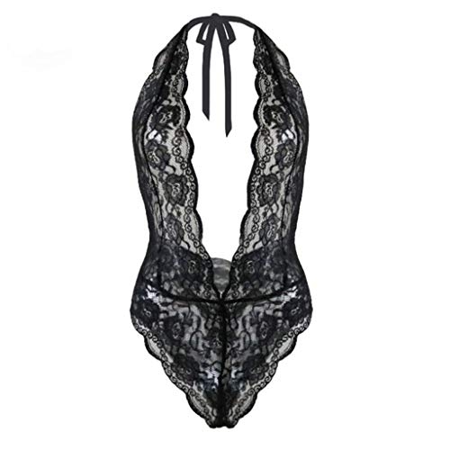 (Sexy Teddy Jumpsuits Women Lace Transparent Erotic Deep V Halter Bodysuits Backless Temptation Costumes Rompers)