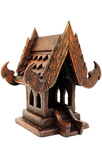 DDPremium Spirit House Thai Buddhism Handmade Teak Wood (W4 xL3 xH5) by DDPremium