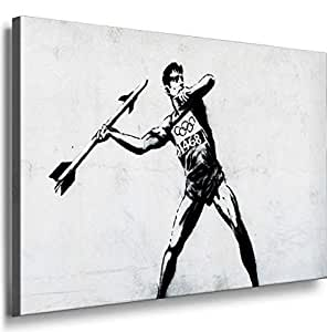 Banksy Graffiti Street Art -1074, Size 100x70x2 Cm. Printed On Canvas Stretched On A Wooden Frame.