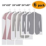 Adalite Garment Bag, 3 Sizes, Clear Garment Cover White Suit Bag Sturdy Zipper Dust-Proof and Moth-Proof for Closet Storage and Business Travel, 6 Pack