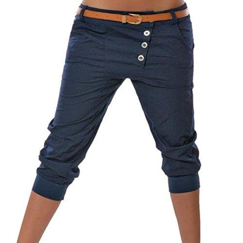 3 Mujer Chino Sólido 4 Pantalones Corto Pantalón Capri Color ORANDESIGNE Pantalones Boyfriend Azul Cortos SIzZxdZq