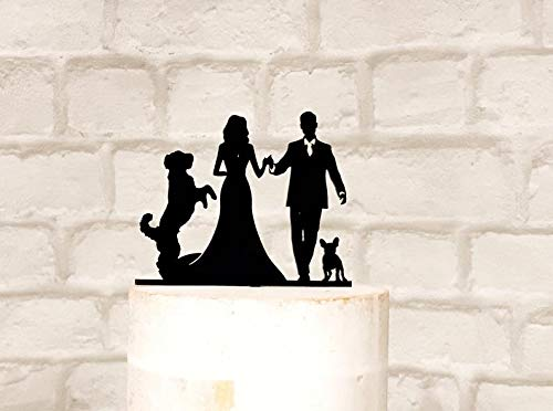 Labradoodle and French Bulldog Silhouette Wedding Cake Topper - French Bulldog Silhouette