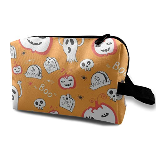 Lvxinghzd Cute Spooky Ghost Pumpkin Halloween Decor Portable Travel Makeup Cosmetic Bags Organizer Multifunction Case Toiletry Bags ()