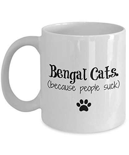 Bengal Cat Mug – Because People Suck – Funny Cat Lover Coffee Cup Gift, 11 oz.
