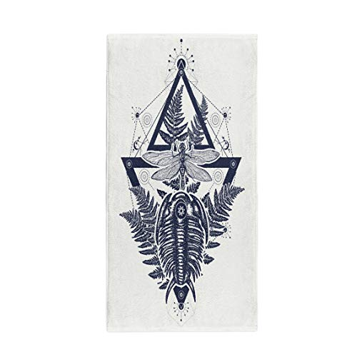 es Bath Towel Prehistoric Tattoo Dragonfly in Triangle Symbol of Paleontology Science Soft Absorbent Travel Guest Decor Hand Towels Washcloth for Bathroom(One Side Printing) ()
