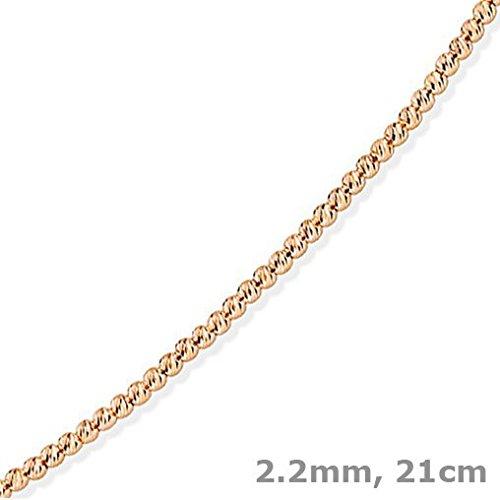 2,2mm Bracelet billes Chaîne Boule en or 585or rouge 21cm Bracelet en or
