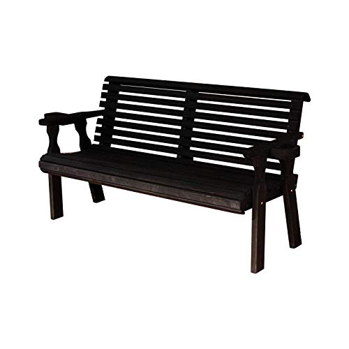 CAF Amish Heavy Duty 800 Lb Roll Back Pressure Treated Garden Bench with Cupholders (5 Foot, Semi-Solid Black Stain)