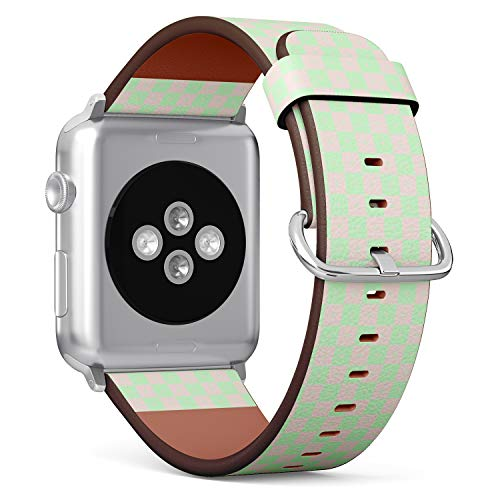 Compatible with Apple Watch iWatch (42/44 mm) // Leather Replacement Bracelet Strap Wristband + Adapters // Geometric Squares Crosses - Square Band Cross