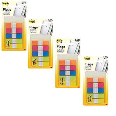 Post-it Flags, Rio de Janeiro Collection, Stays Put Until You Decide to Remove it.47 in. Wide, 100/On-the-Go Dispenser, (683-RIO2), 4 Pack