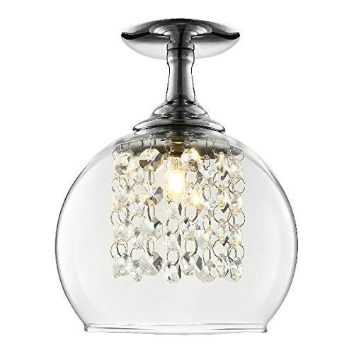Mordern Crystal Hanging Pendant Light-LITFAD 6 Crystal Chandelier Ceiling Light Clear Glass Round Shape Sparkling Light Fixture