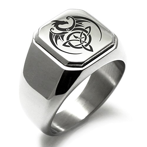 Stainless Steel Celtic Dragon Triquetra Symbol Square Flat Top Biker Style Polished Ring, Size 9 ()