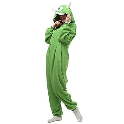 VU ROUL Halloween Costume Adult Animal Costume Mike Onesie Pajamas Green