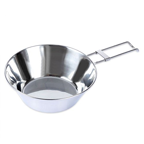Stainless Steel Bowl with Folding Handle Camping Tableware Portable Cookware Bowl,Lightweight & Collapsible Camping Gear Cookware Equipment by ezyoutdoor