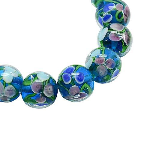 (ARRICRAFT 10pcs Handmade Inner Flower Lampwork Beads 2mm Hole Round Ball Beads for Crafting Jewelry Making)