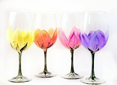 Hand Painted Wine Glasses, Brushes with a View set of 4 Artisan Made Floral Drinking Glasses Set, Perfect Mother's Day, Bridal Shower, Christmas & Easter Gift, (Floral Painted Glass)