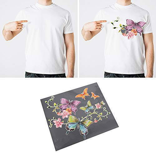 liyhh Butterfly Flower T-shirt Dress Clothes Thermal Transfer Pyrograph DIY Patches 1 Sheet PET Release Film (Film Pet Release)