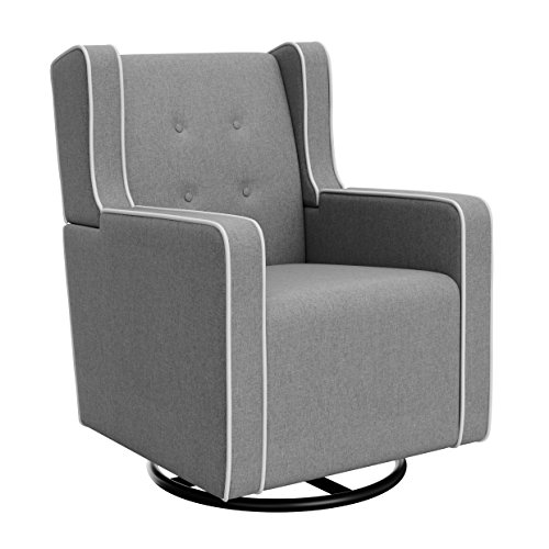 Graco Tufted Remi Upholstered Swivel Glider, Horizon Gray White, One Size, Cleanable Upholstered Comfort Rocking Nursery Swivel Chair
