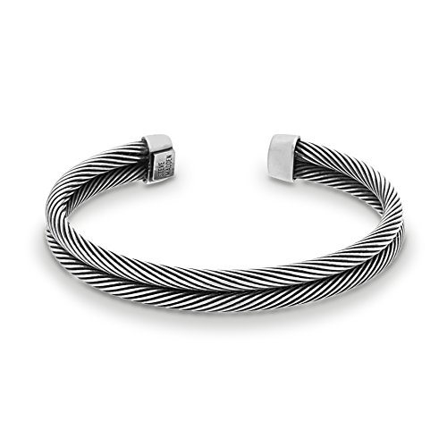 Steve Madden Mens Stainless Steel Silver Tone Double Strand Twisted Cuff Bangle Bracelet