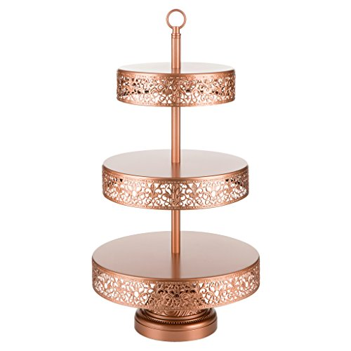 Victoria Collection Rose Gold 3 Tier Cupcake Stand, Round Metal Dessert Wedding Party Display Tower with Reversible Plates (Rose Gold Wedding Cake)