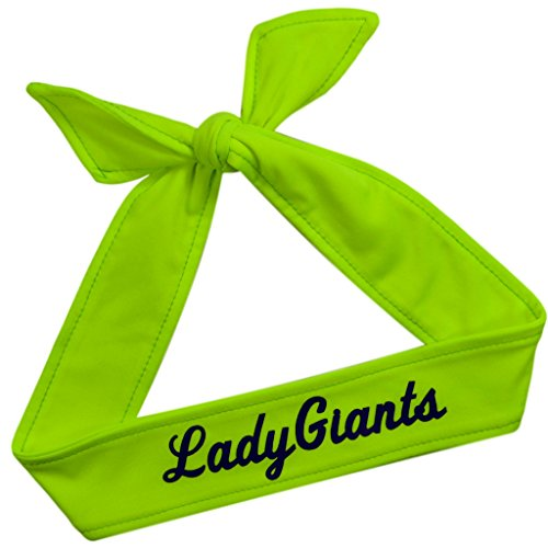 Funny Girl Designs Tie Back Sport Headband with Your Custom Team Name or Text in Vinyl (NEON Yellow, 1 Headband)]()