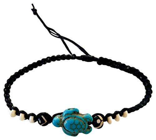 Hippie Hemp Cord (Sun Lifestyle Save The Turtle Bracelet For Boys, Girls, Men, Women - Braided Hemp Hippie Beach Wrist Wrap - Native Hill Tribe Cuff, Adjustable (Turtle Turquoise))