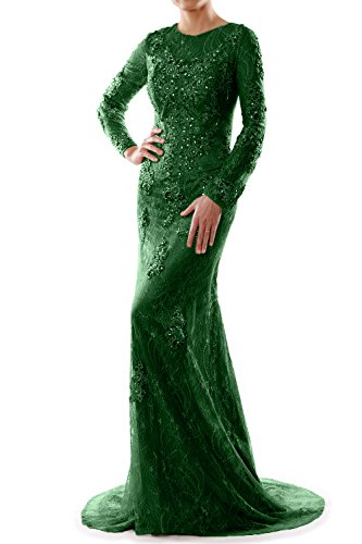 Evening Mermaid Dress Lace Party Formal MACloth Sleeve Women Dunkelgrun Wedding Gown Long TqcSX