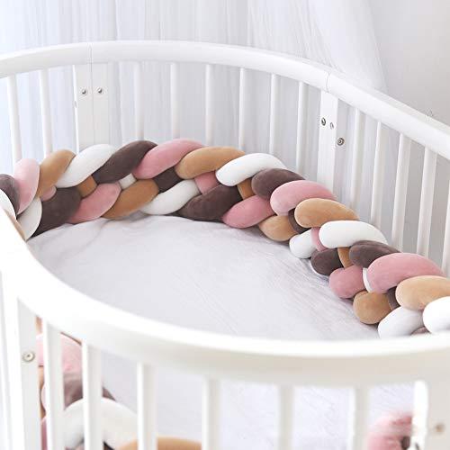 - FZYQY Handmade Braided Cot Bumper,Baby Head Guard Bumper Knot Braid Pillow Cushion,Nursery Decorations Braided Bumper for Crib Nursery,White+Brown,3meters