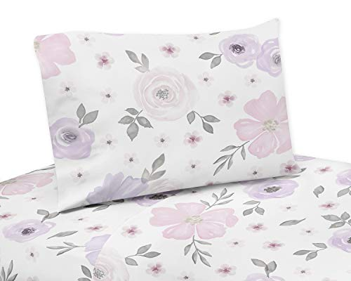 Sweet Jojo Designs Lavender Purple, Pink, Grey and White Twin Sheet Set for Watercolor Floral Collection - 3 piece set - Rose -