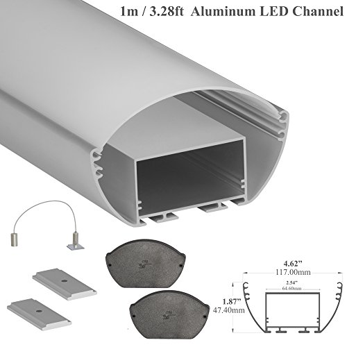 LEDPROFILES 2-Pack 3.28ft/1Meter LED Aluminum Channel with Opal Diffuser, End Caps and Mounting Accessories - 532 Series - Upto 64.6mm/2.54
