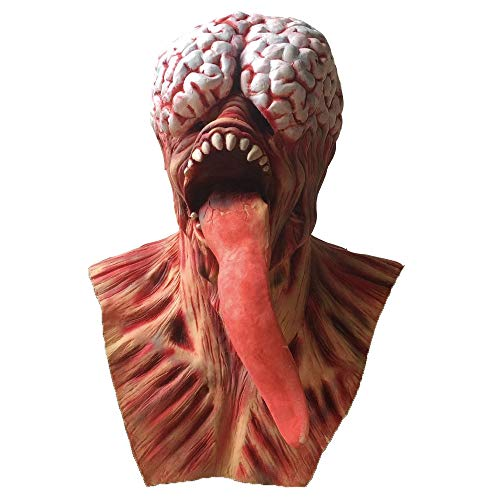Zombie Full Head Face Mask Halloween Horror Scary Evil Clown Red Face Snake Tongue Latex Mask Cosplay Costume Prop (red) ()